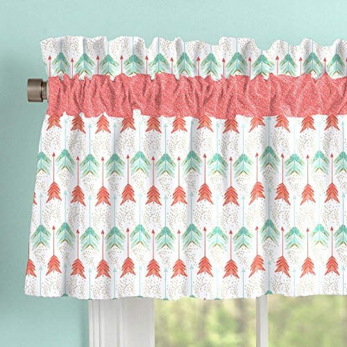 Carousel Window (Carousel Designs Coral and Teal Arrow Window Valance Rod Pocket)