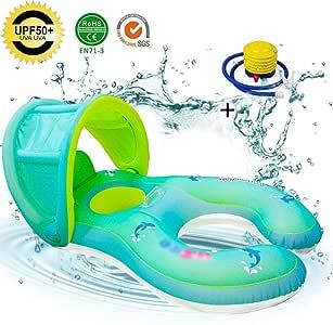Anillo de natación para bebés, flotadores para bebés Cintura ajustable Anillo inflable para bebés, flotadores para bebés con bomba manual para niños, juguetes interactivos: Amazon.es: Bebé