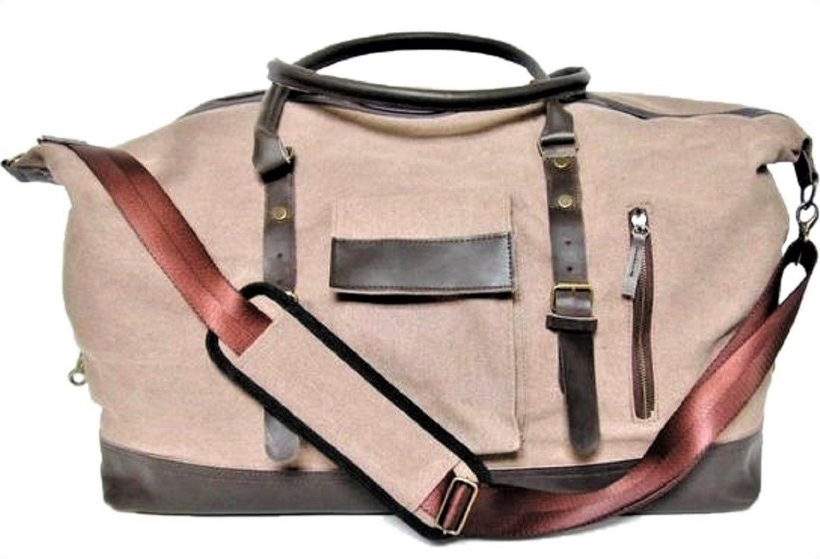 Duffle Bag Canvas large leather, Carryon for Men Women Overnight bag, Weekender, luggage, Nylon Lining, Green Coast