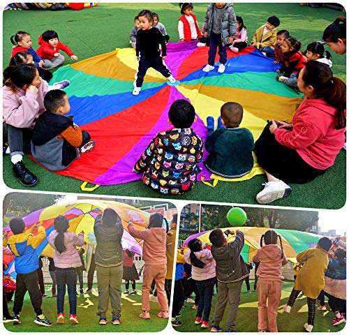 NARMAY Play Parachute for Kids Rotating Rainbow with 12 Handles - 12 Feet by NARMAY (Image #1)