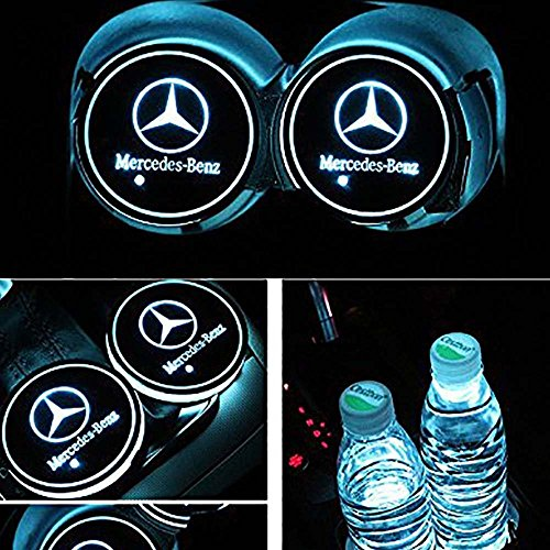DIYcarhome Car Logo LED Cup Pad led Cup for Mercedes-Benz Coaster 7 Colors Changing USB Charging Mat Luminescent Cup Pad LED Mat Interior Atmosphere Lamp Decoration Light (2PCS)