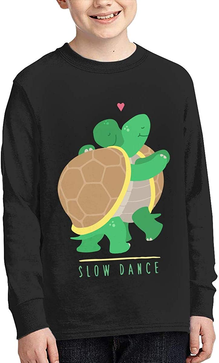 Teenagers Teen Boy Two Slow Dancing Turtles in Love Printed Long Sleeve 100/% Cotton T-Shirts