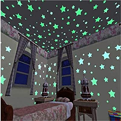 Tmrow 100pcs DIY Luminous Star Patch Fluorescent Sticker 3D Wall Stickers Home Decor for Bedroom Wall Decorate Baby Kids Gift,Green: Health & Personal Care