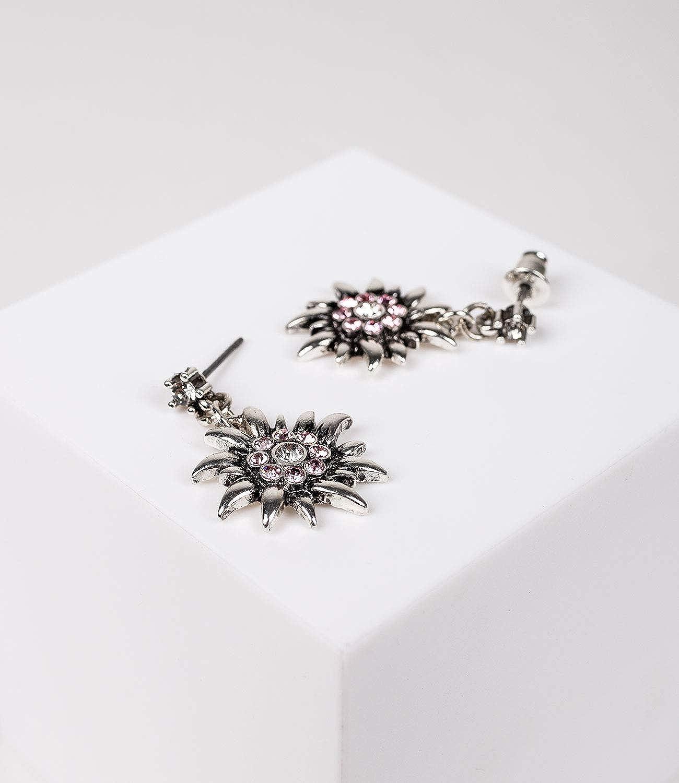 prairie carnaval 795-819 f/ête de la bi/ère costume SIX Boucles doreilles edelweiss avec strass /étincelants dirndl