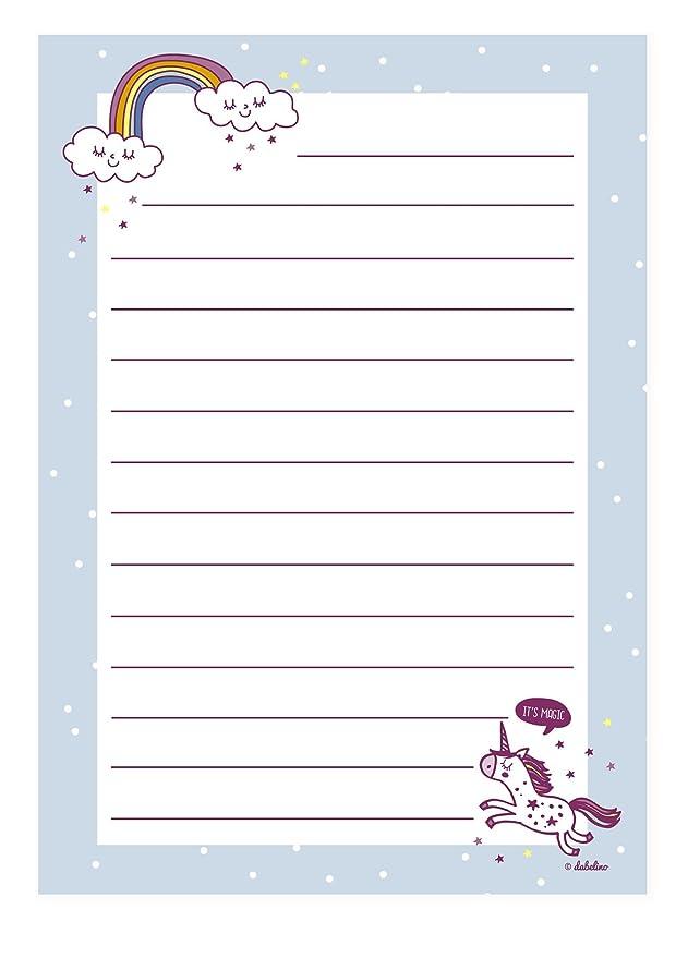 Unicornio de Juego de papel de cartas para niña: 25 hojas de ...