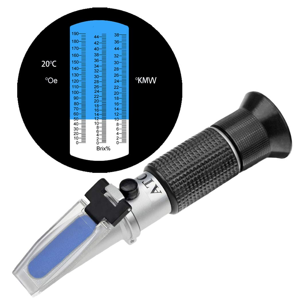 HH-Tec wine refractometer 0-190 Öchsle 0-44 Brix (sugar) 0-38 KMW with ATC for winegrowers winery wine beer fruit fruit wine refractometer for the measurement of sugar content
