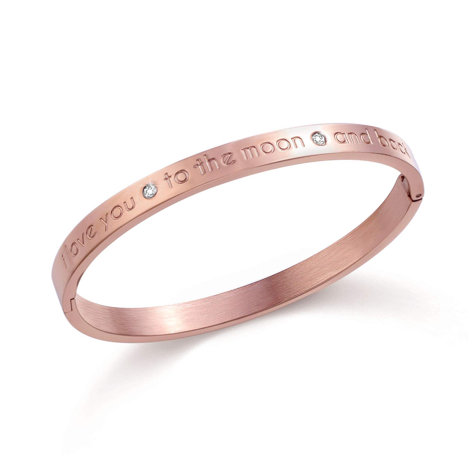 Fullrainbow Stainless Steel Jewelry Sister Gifts from Sisters Diamond Bracelet Rose Gold Engraved Bracelet I Love You to The Moon and Back (Rose Gold)