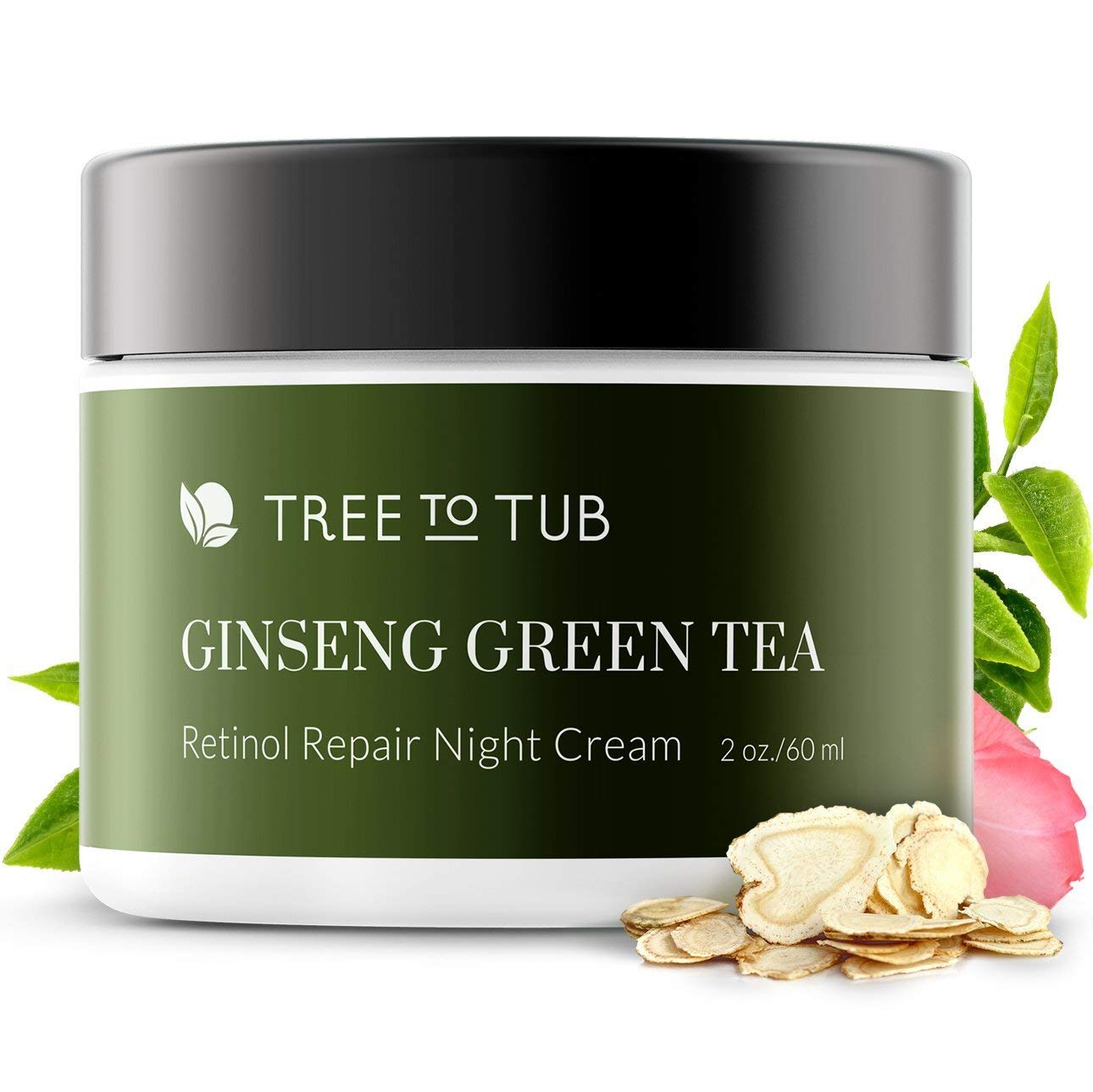 Retinol Sensitive Skin Night Cream for Face by Tree To Tub - pH 5.5 Hypoallergenic Anti Aging Night Cream with Hyaluronic Acid, Ginseng and Green Tea. Wake Up to Moisturized Dewy Glowing Skin 2 oz