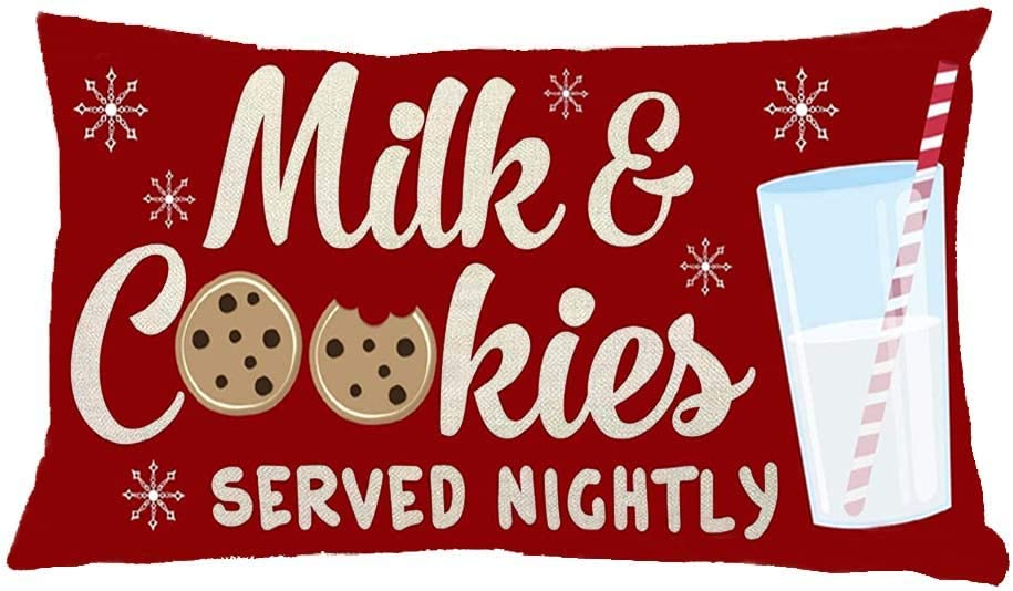 Milk and Cookies Served Nightly - Christmas Pillow cover