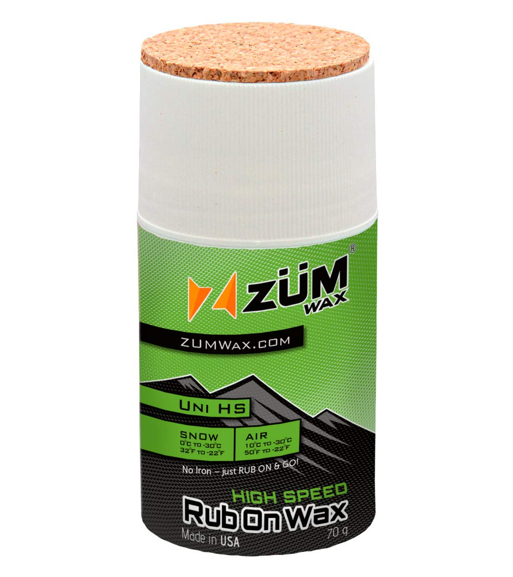 ZUMWax HIGH Speed Racing RUB ON Wax Ski/Snowboard/Nordic/Cross-Country - All Temperature Universal - 70 Gram. Super-Fast!!! Environmentally Friendly & Non-Toxic! Fully TSCA Compliant!!! by ZUMWax