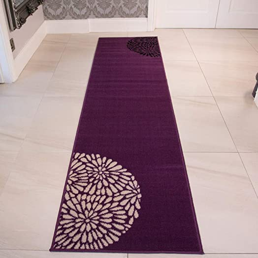 Modern Violet Purple Black Cream Runner Area Rug