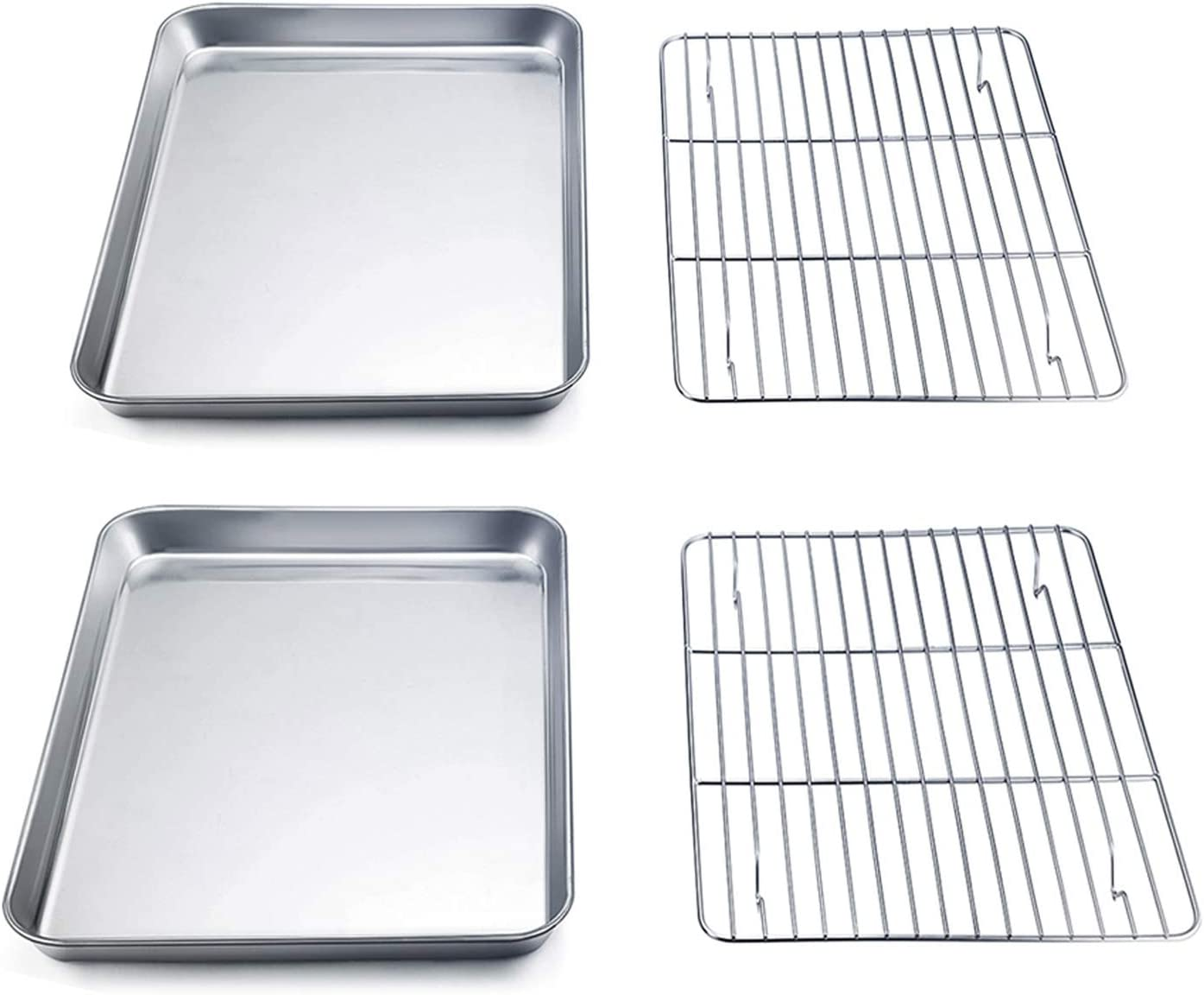 TeamFar Toaster Oven Pan with Rack Set (2 Pans + 2 Racks), 9'' x 7'' x 1'' Stainless Steel Compact Toaster Ovenware Pan with Cooling Rack, Healthy & Heavy Duty, Easy Clean & Dishwasher Safe - 4 Packs