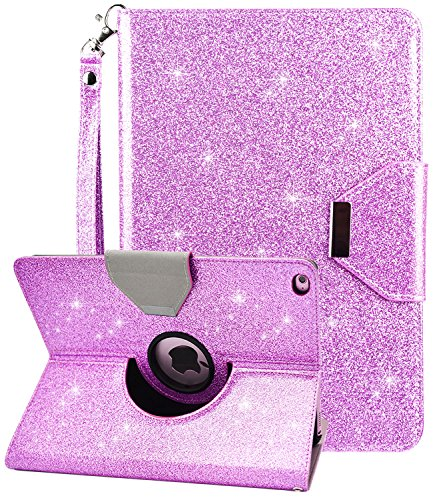 Dailylux New iPad 9.7 Inch 2018/2017 Case,Glitter Sparkle 360 Degree Rotating Stand Case Bling Luxury Faux Leather Case with Wrist Strap Auto Sleep/Wake Function Cover for iPad 9.7 inch-Purple