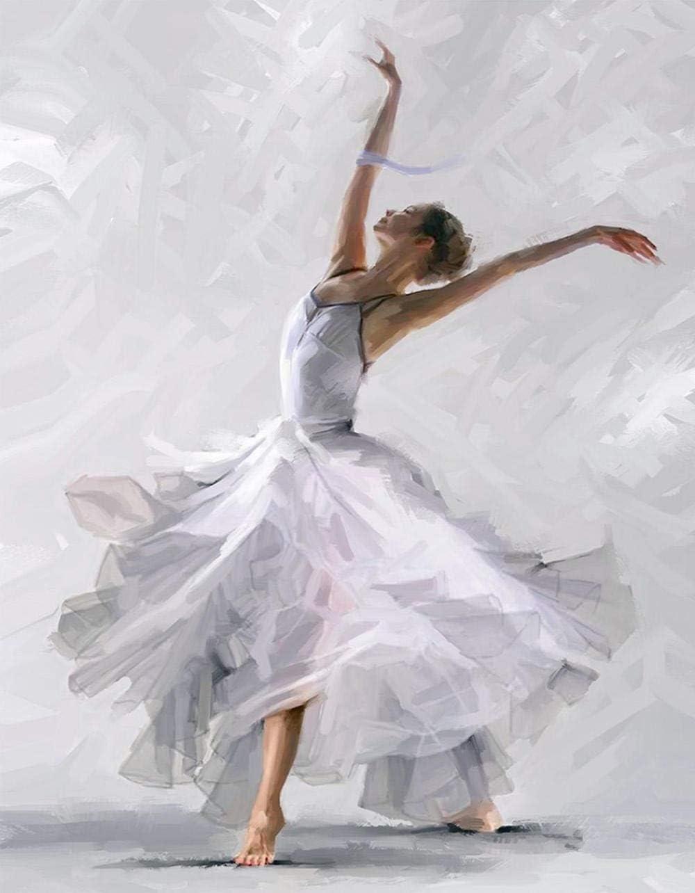VIKMARI Pittura con i Numeri Kit per Adulti con Cornice Pittura Fai da Te con i Numeri Ballerino di Danza Classica Pittura a Olio Fai da Te Pittura con Cornice 16x20 Pollici