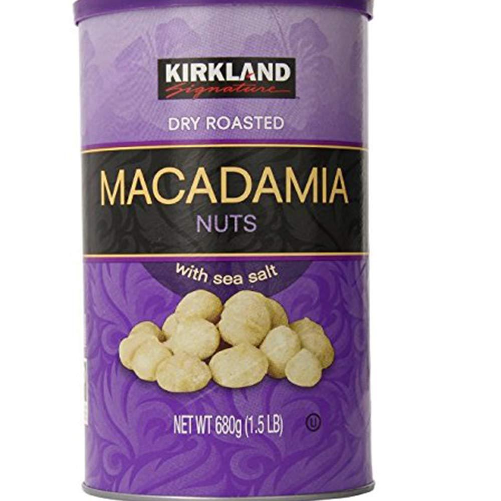 Kirkland Dry Roasted Macadamia Nuts with Sea Salt 680g (1.5 LB)(Pack of 2)