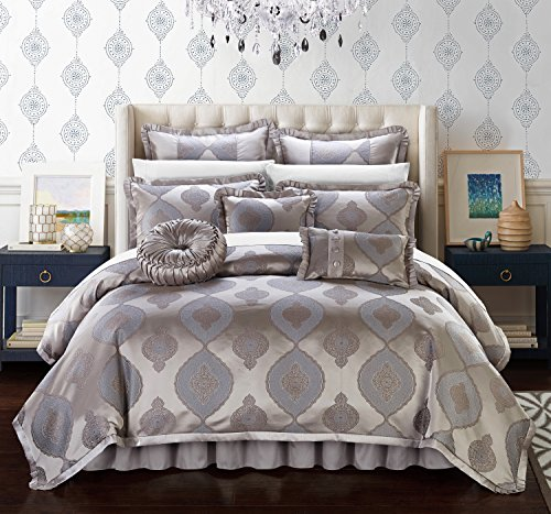 Chic Home Jamay 9 Piece Comforter Set Jacquard Scroll Faux Silk Bedding with Pleated Flange - Bed Skirt Decorative Pillows Shams Included, King Taupe