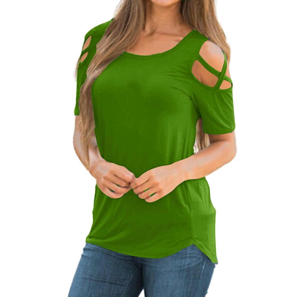 iYBUIA Women Summer Short Sleeve Strappy Cold Shoulder T-Shirt Tops Green
