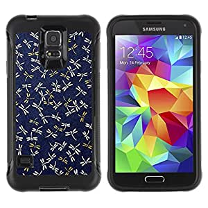 Jordan Colourful Shop@ Dragonfly Navy Blue Pattern Gold Spring Rugged hybrid Protection Impact Case Cover For S5 Case , G9006 Cover Case ,Leather for S5 ,S5 Cover Leather Case ,G9006 Leather Case