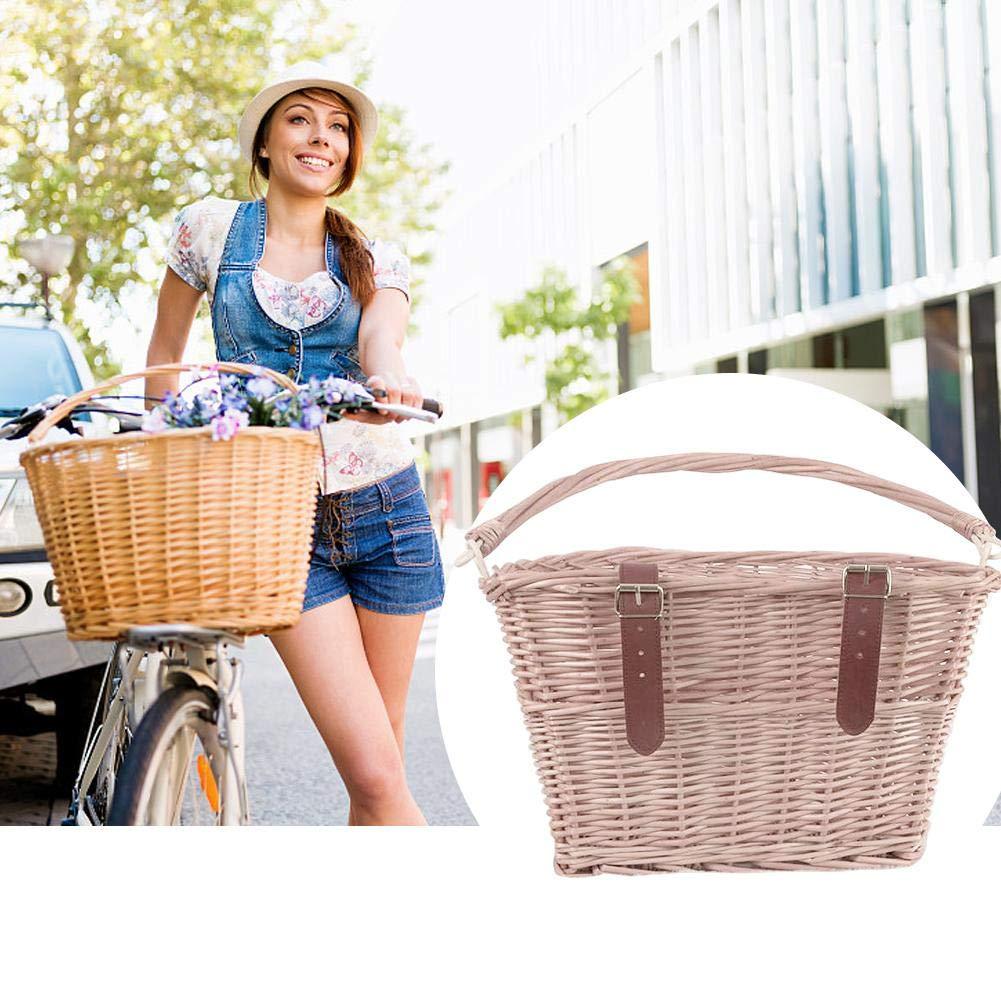 AITOCO Cestino della Bicicletta Cestino della Bicicletta Tradizionale Vimini Cestino Anteriore della Bicicletta Manubrio dellanimale Domestico con Cinghie di Cuoio