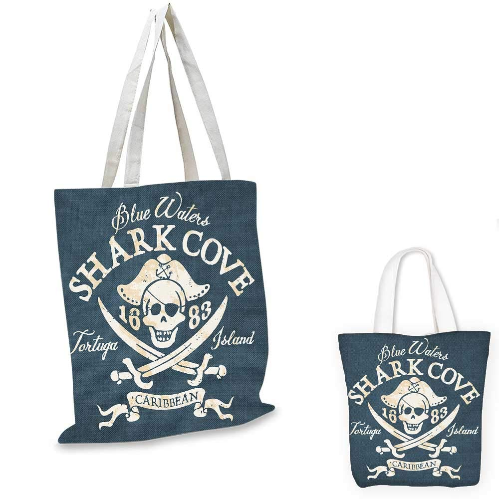 16x18-13 Pirate Queen Size canvas messenger bag Dead Pirate Skull and Crossbones Red Bandana Scary Bandit Warning Icon Piracy travel shopping bag Black White Ruby