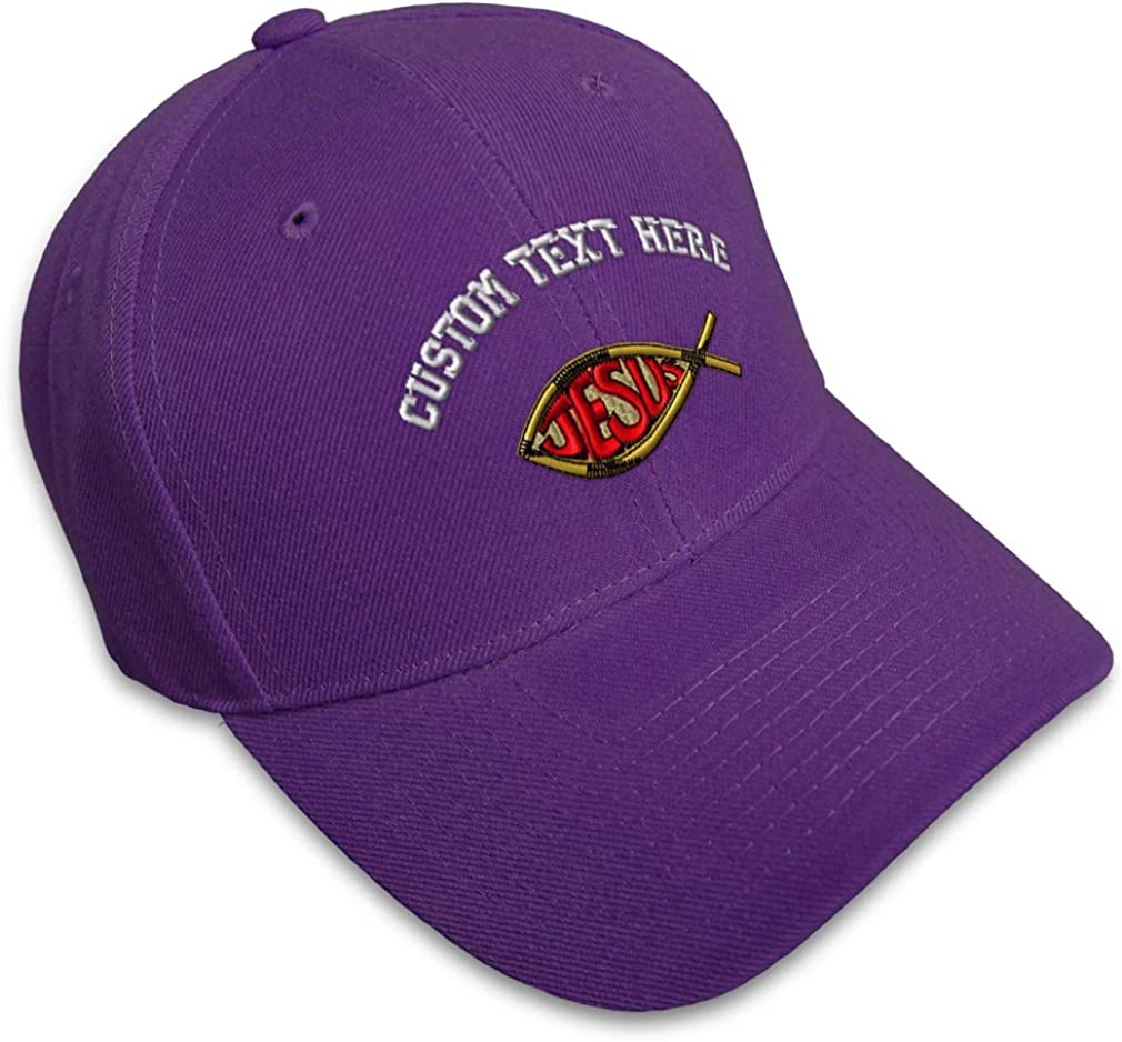 Custom Baseball Cap Jesus Christ Fish Symbol Embroidery Dad Hats for Men /& Women