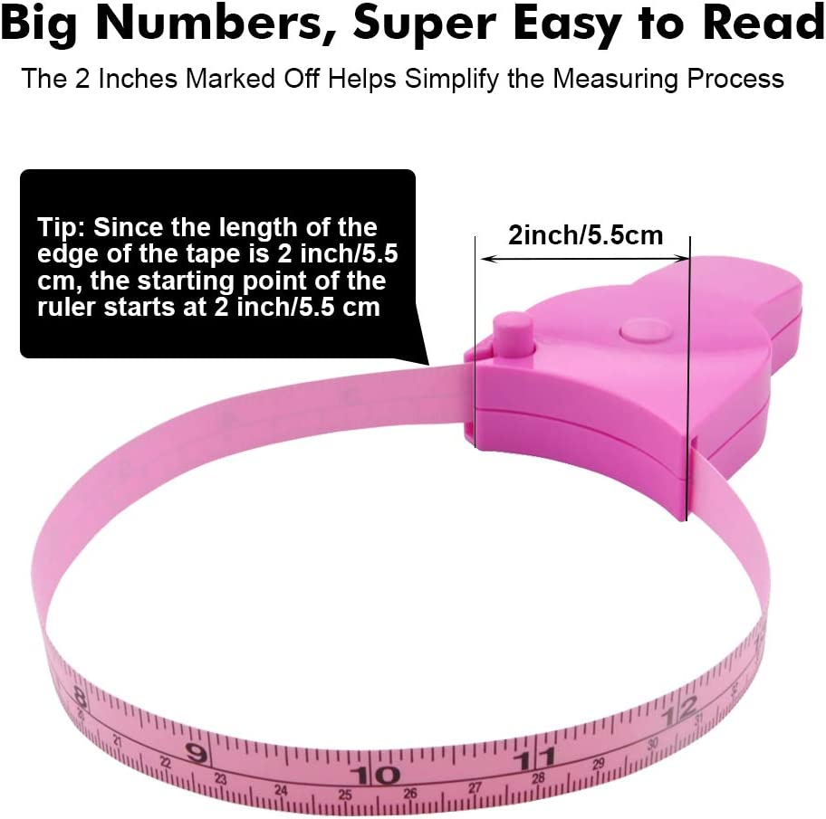 Edtape Body Tape Measure Measuring Tape for Body,Soft Tape Measure for Body Sewing Fabric Tailor Cloth Craft Weight Loss Measurement Tape,60 Inch//1.52M Pink Retractable Body Measure Tape Set