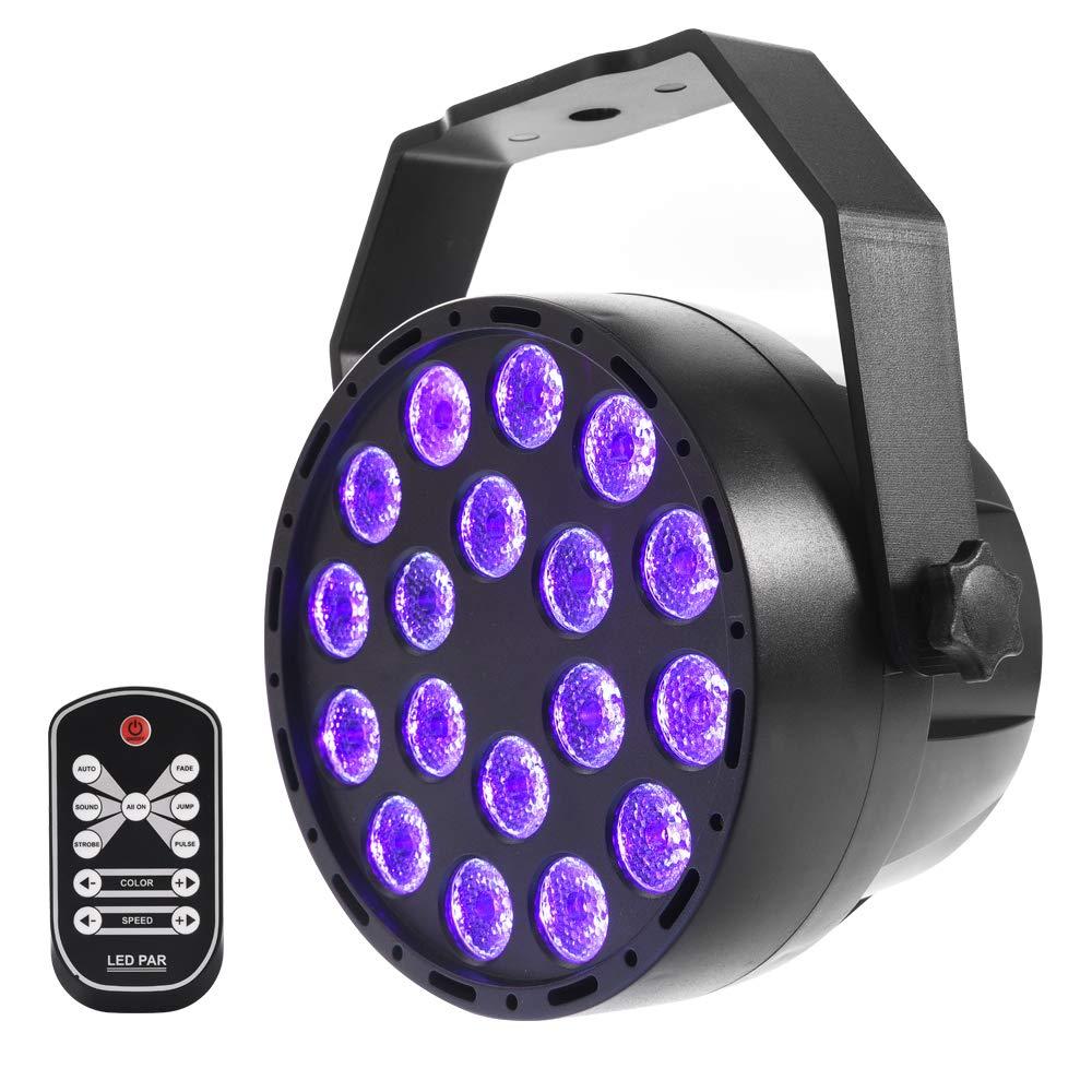18 LED UV Negro Luz con Mando a distancia, mictuning Etapa iluminació n schwarzlicht Faro 7 modos para Party Etapa KTV Club Disco Cumpleañ os