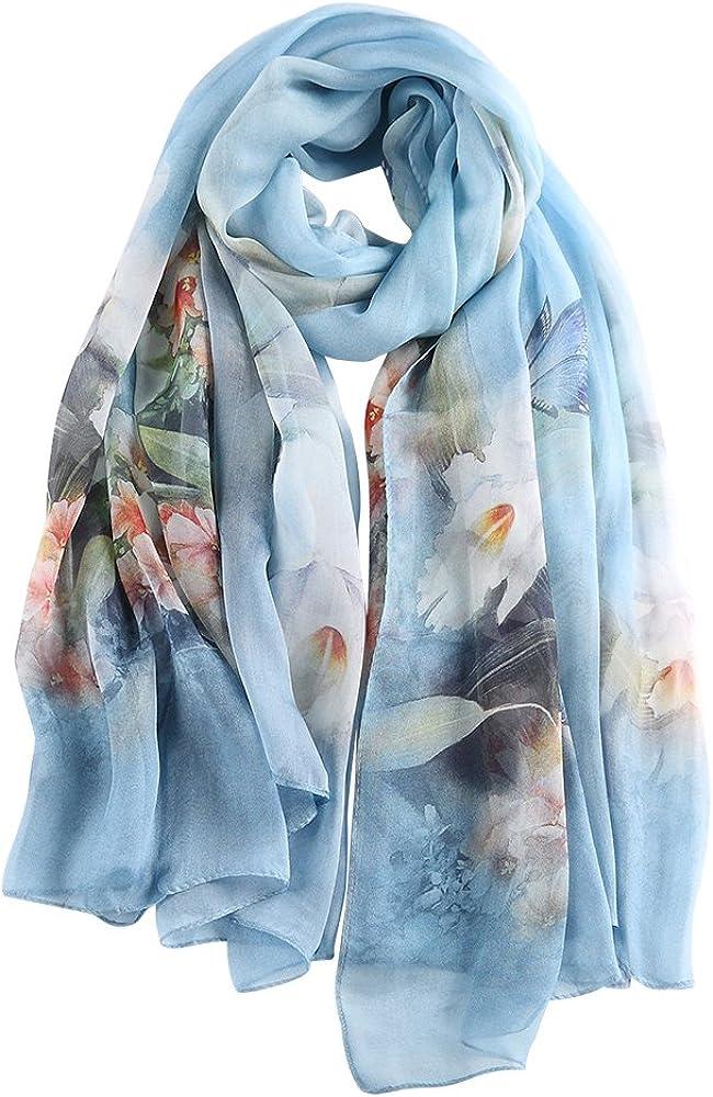 STORY OF SHANGHAI Bufanda de Seda Mujer 100% Seda Estampado Floral Colorido Gran Bufanda Mantón Ultraligero Transpirable Elegante 175 * 110 CM