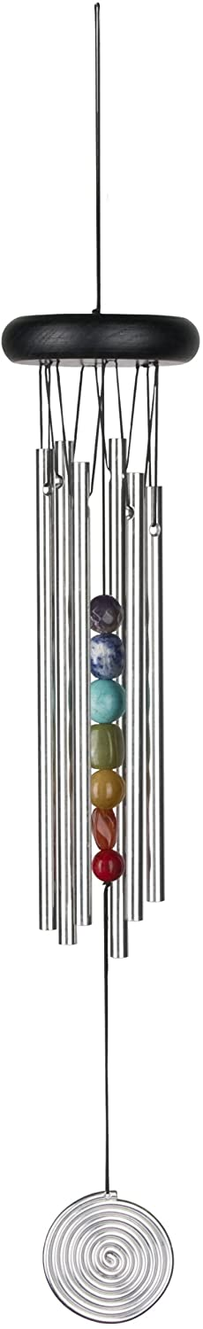 Woodstock Chimes Woodstock Medium Chakra, Seven Stones-Eastern Energies Collection Chime, 17-1/2-Inch, Silver