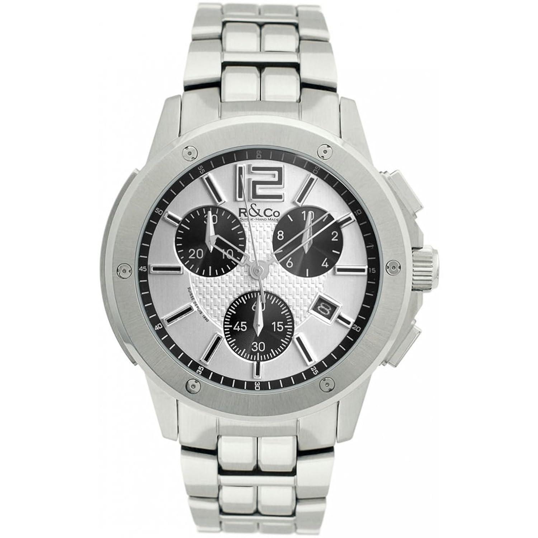 R Co &Men'Quarz-Armbanduhr mit silberfarbenem Zifferblatt Chronograph Anzeige und Silber-Edelstahl-Armband rgb000 01-
