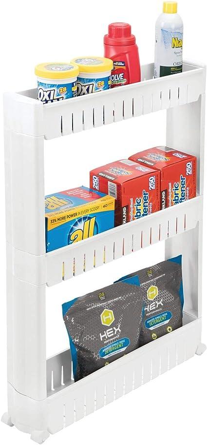 mDesign Mueble auxiliar para lavadero – Compacta estantería con ruedas para guardar detergentes, quitamanchas, etc. – Práctico carro de lavandería de ...