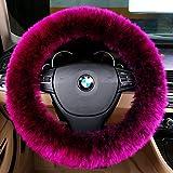 "Sino Banyan Steering Wheel Cover,Australian Merino Wool,14.96"" x 14.96"",Phosshor Pink"