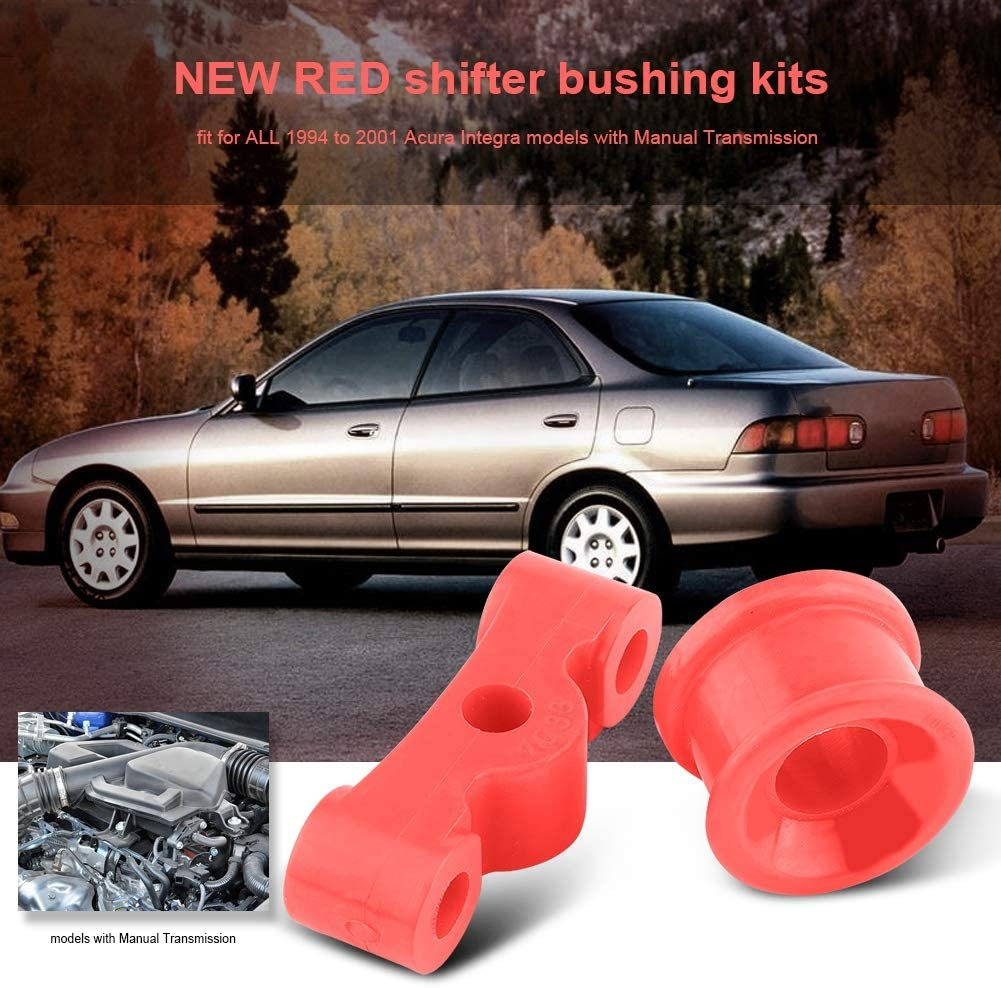Cuque 2 Pcs Car Transmission Shifter Bushing Kit Red for Acura Integra 1994 1995 1996 1997 1998 1999 2000 2001 Honda Civic 1984 1985 1986 1987 Civic Si 1999 2000 Del Sol VTEC 1993 1994 1995 1996 1997