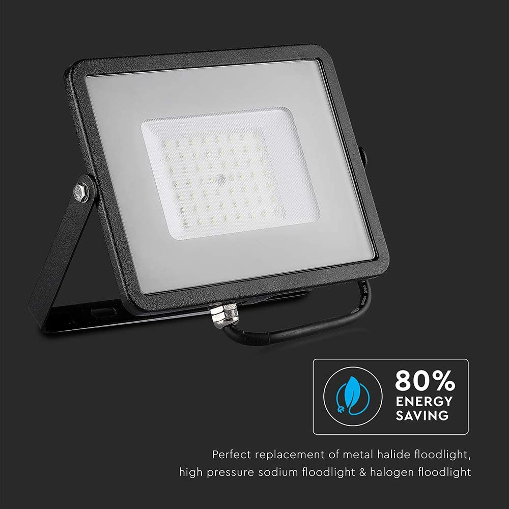 V-TAC 10W Waterproof Outdoor Security Floodlight with Samsung LED Black Body Grey Glass IP65 4000K Day White 800 lumens 10 W Die Cast Aluminium Energy Class A+