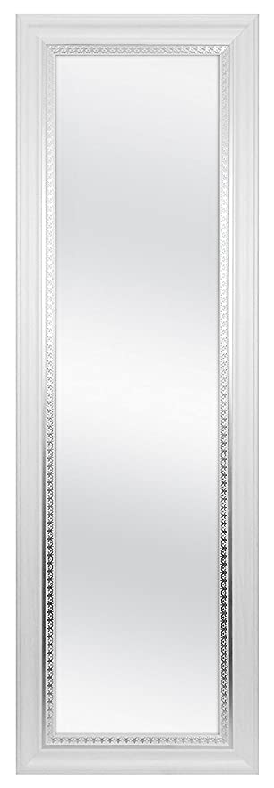 MCS 83050, 12x48 Inch Over The Door Mirror 17x53 Inch Overall Size, White