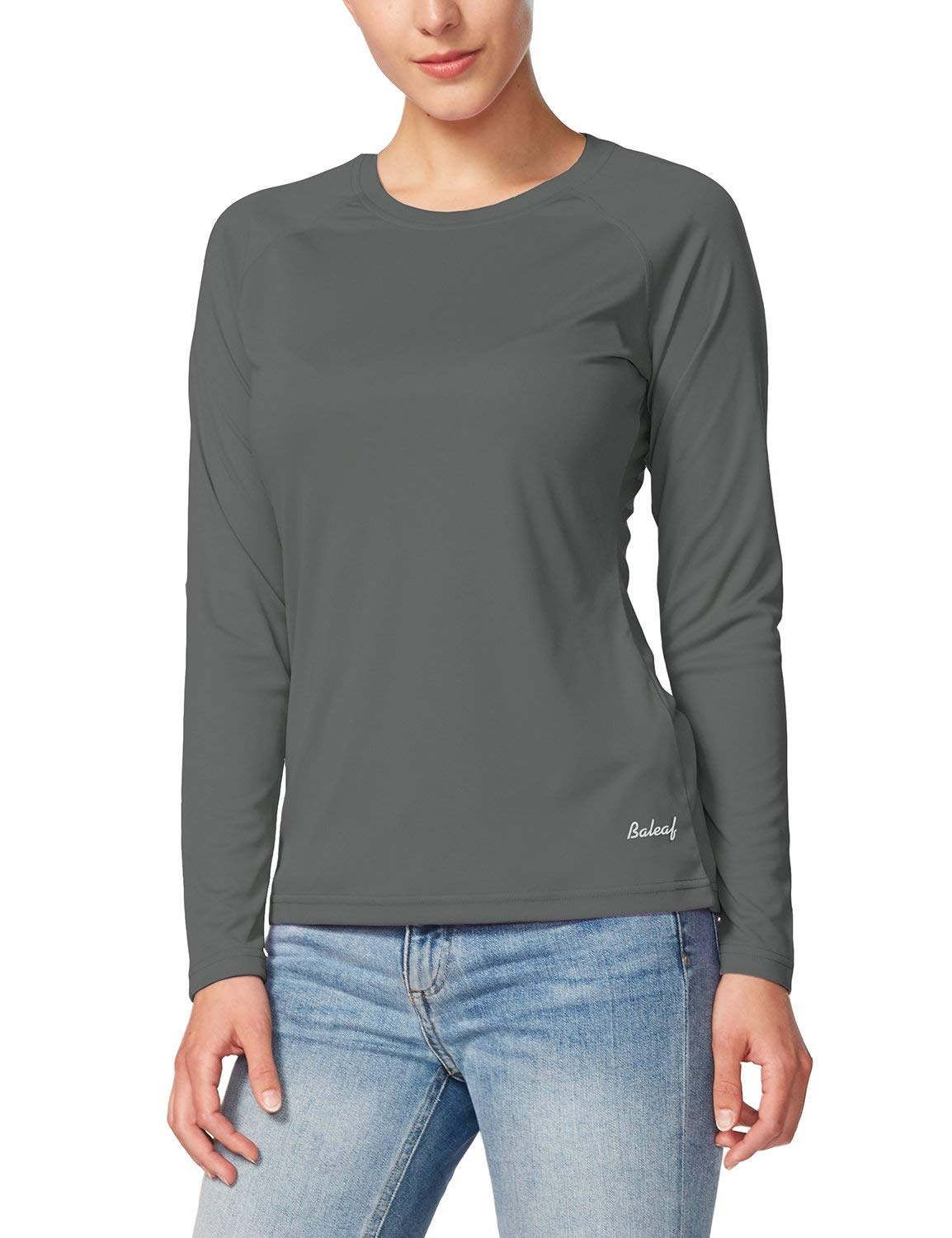 BALEAF Women's UPF 50+ Sun Protection T-Shirt Long Sleeve Outdoor Performance Charcoal Gray Size XL by BALEAF