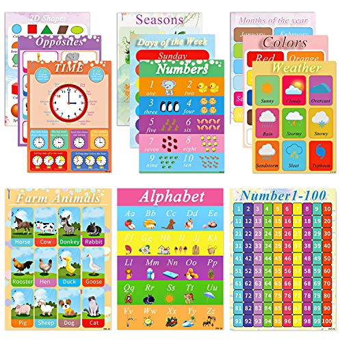 Educational Posters Kids Learning Charts - 12 Pcs Preschool Education Posters, Perfect for Homeschool Preschool Learning, Kindergarten Alphabet Numbers Posters for Children (Educational Posters)]()
