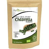 Bio Chlorella-Tabletten (300 x 500mg)   MySuperFoods   unglaublich hoher Chlorophyllgehalt   Platzt mit Nährstoffen  Organisch zertifiziert   Gesunde essbare Alge   In Getränke und Smoothies
