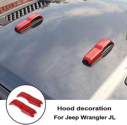 Carbon Fiber ABS Front Hood Cover Decor Trim For 2018 Jeep Wrangler JL 2PCS Pair