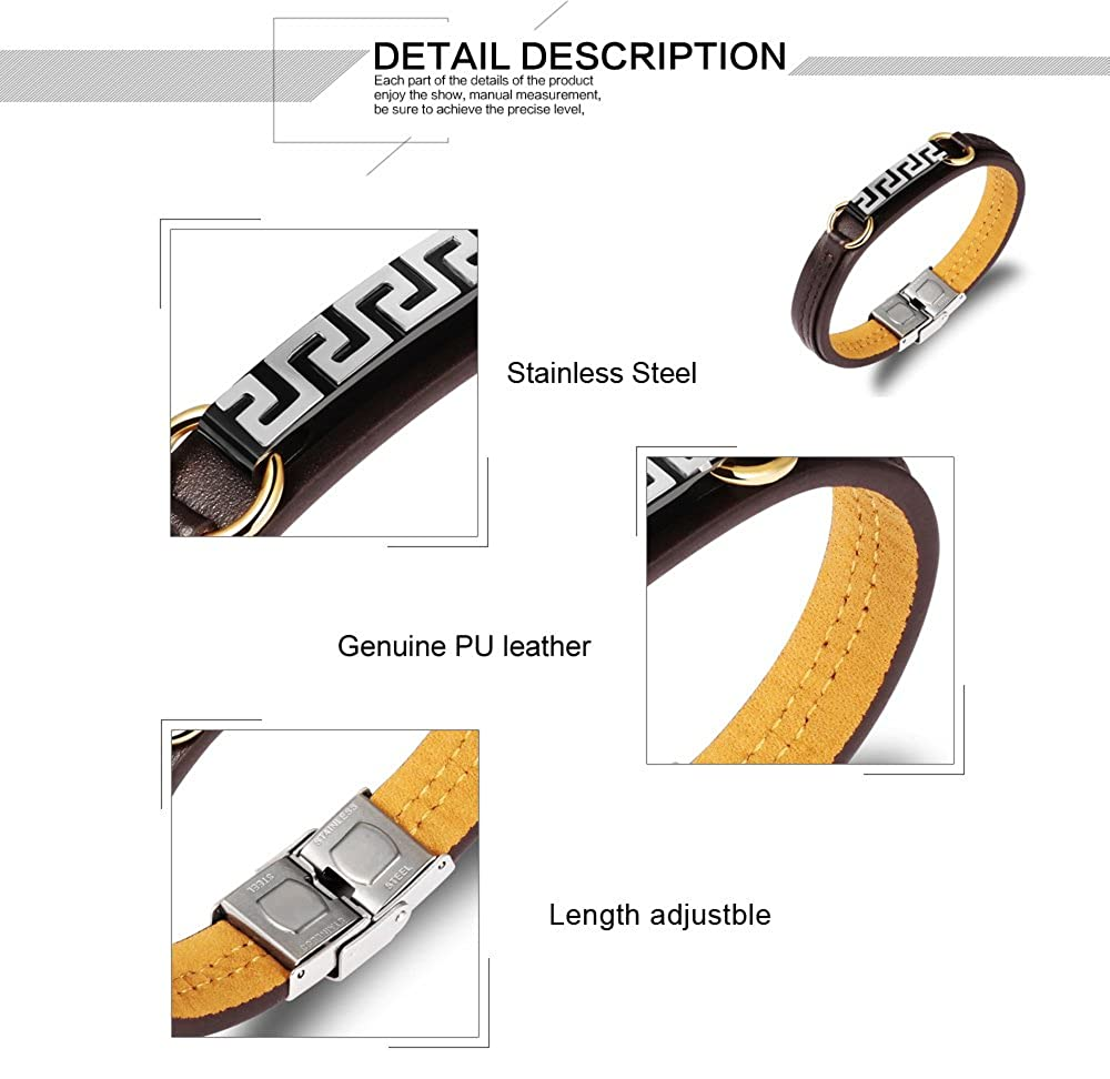Rock Titanium Steel Bracelet Wristband with Leather Chain Belt for Men L8.07