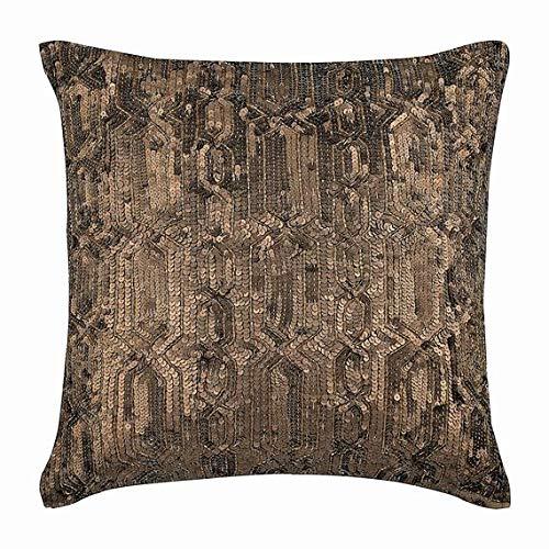 (Designer Gold Decorative Pillow Cover, Sequins Lattice Trellis Antique Glitter Pillows Cover, 16