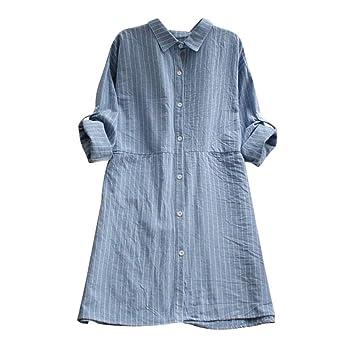 ede2f82cecc Amazon.com  Loose Women Striped Shirt Dress Long Sleeve Cotton Linen Button  Causual Dress With Pocket (S