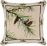 Handmade 100% Wool Needlepoint Winter Balsam Pine Branch Christmas Tree Classic Winter Holiday Decorative Throw Pillow. 18'' x 18''.
