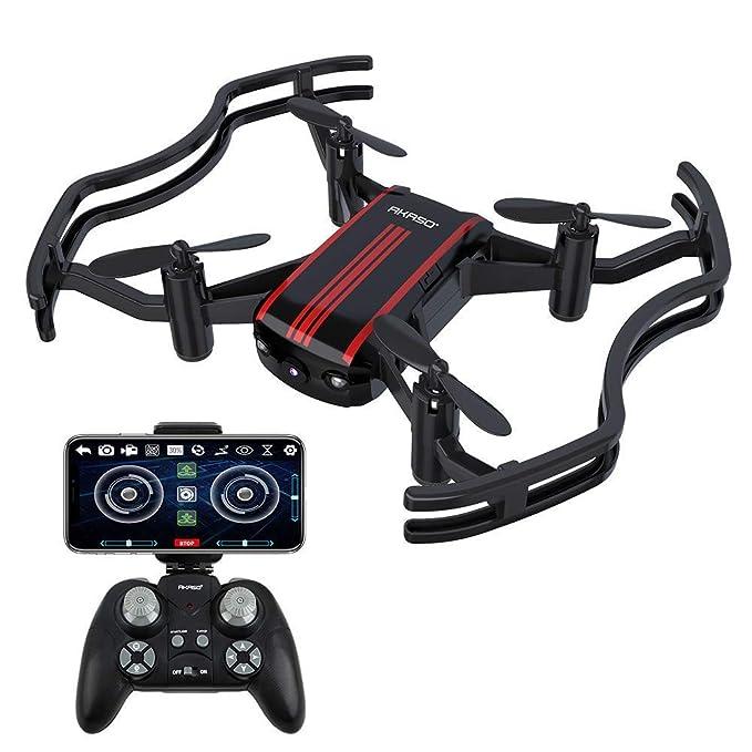AKASO A21 Drone con cámara 720P HD Avión con WiFi FPV 360° Giro Cámara Modo sin Cabeza VR Funciones de Despegue y Aterrizaje Vuelo de Trayectoria RC Quadcopter Drone para Niños Principiantes Adultos