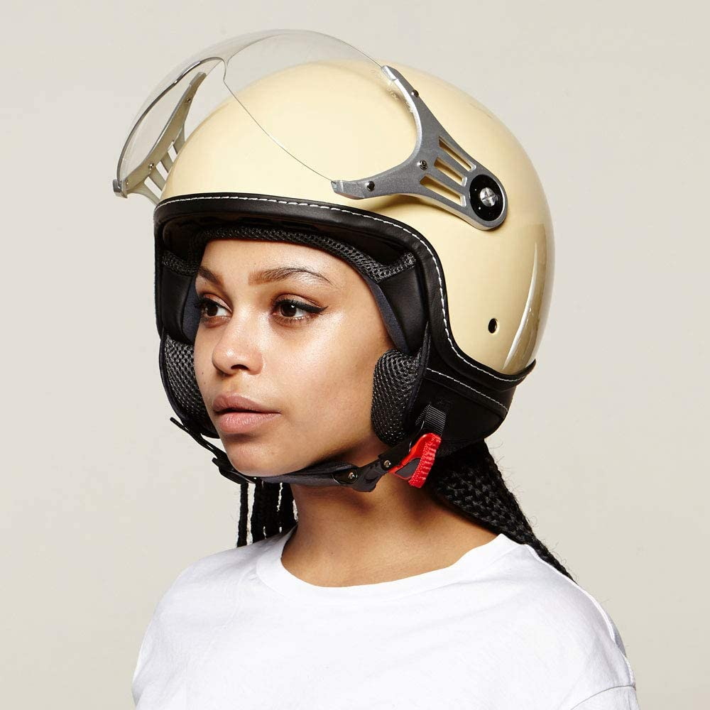 casco con visera certificado ECE Casco moderno de moto Vinz tipo jet color crema en tallasXS M