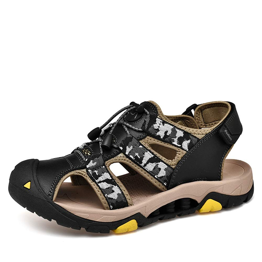 Black SRY-Fashion shoes Sandals for Men Fashion Casual Camouflage Colour Commodious Hook&Loop Strap Outdoor  Water shoes