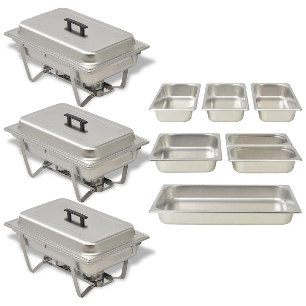 vidaXL Set Calentador Comida Buffet 3 Piezas Bandeja Contenedor Bufé Alimentos