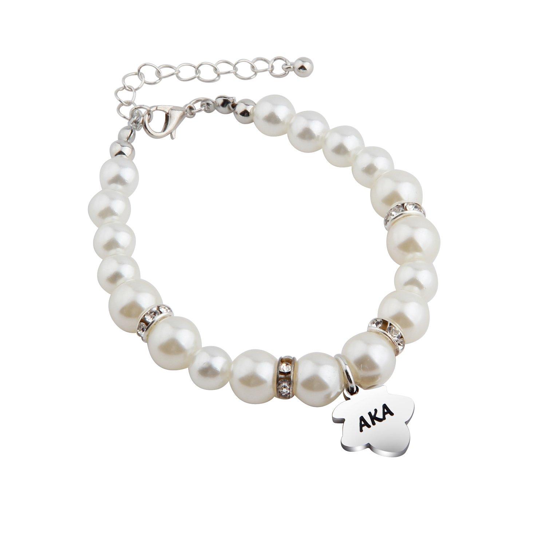 KUIYAI AKA Pearl Bracelet Sorority Bangle Graduation Gift (Pearl bracelet)