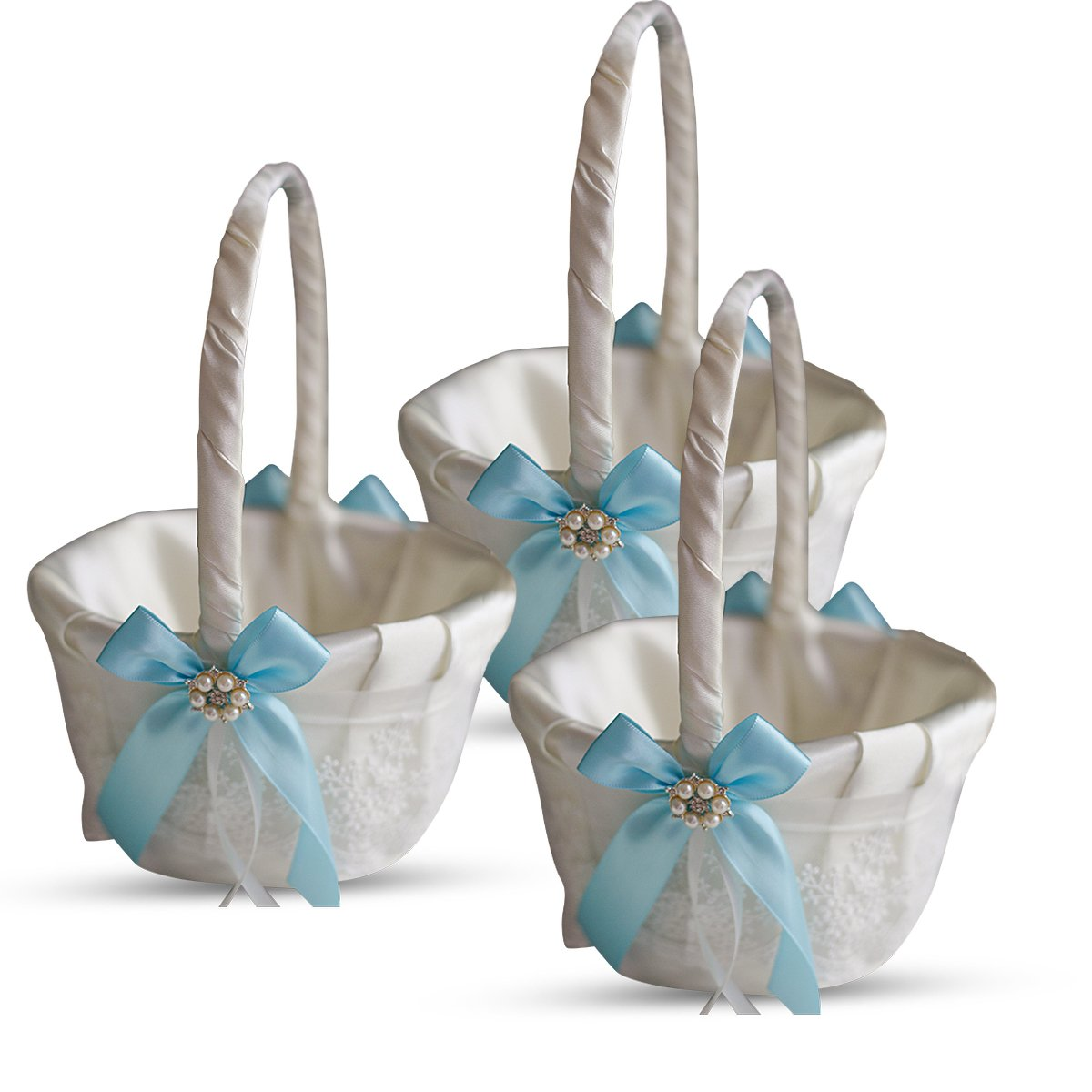 Alex Emotions Ivory Ring Bearer Pillow and Basket Set | Lace Collection | Flower Girl & Welcome Basket for Guest | Handmade Wedding Baskets & Pillows (Sky Blue)