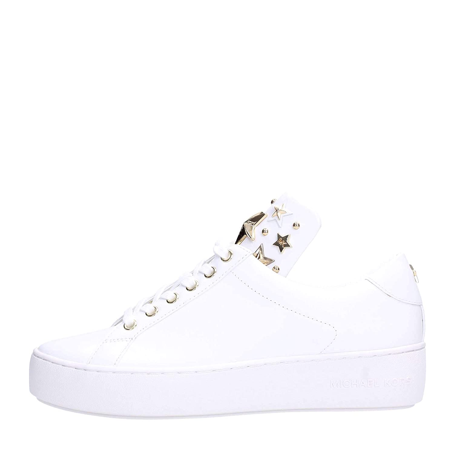Michael Kors Mindy Lace Up Leather 43R9MNFS6L Optic White